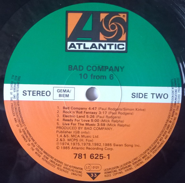 Bad Company ‎– 10 From 6